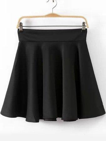 Black High Waist Pleated Skirt   ROMWE