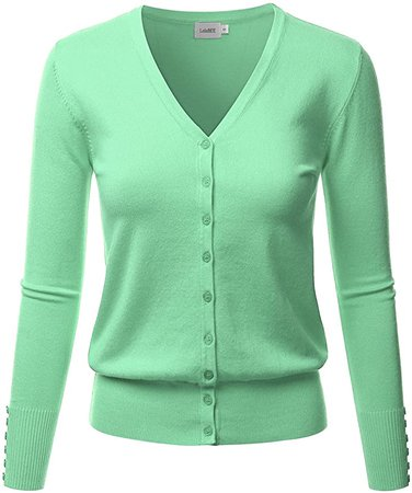 LALABEE Women's V-Neck Long Sleeve Button Down Sweater Cardigan Soft Knit-Honeydew-S at Amazon Women's Clothing store