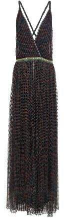 Open-back Metallic Open-knit Maxi Dress
