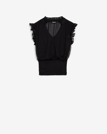 Clip Dot Smocked Ruffle Sleeve Top | Express