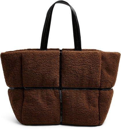 Faux Fur & Vinyl Tote Bag