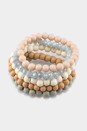 Katrina Wood Beaded Bracelet Set  francesca's