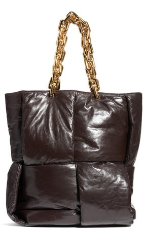 Padded Intrecciato Leather Tote