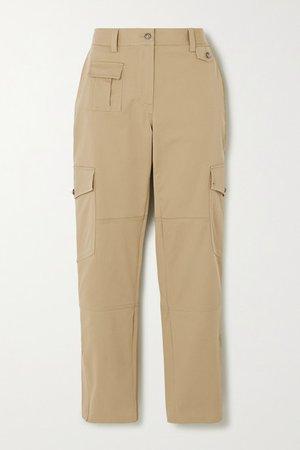 Cotton-blend Twill Slim-leg Pants - Beige