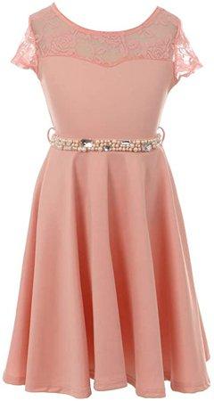 Amazon.com: Elegant Cap Sleeve Lace Pearl Stone Easter Graduation Wedding Flower Girl Dress: Clothing