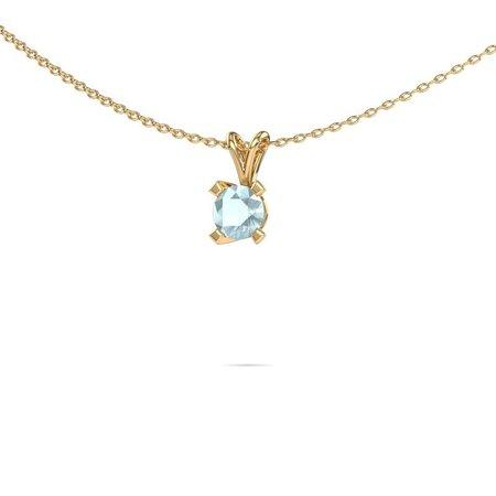Solitaire moderne gouden aquamarijn hanger Eva| Diamondsbyme