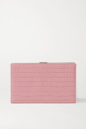 Delia Croc-effect Leather And Acrylic Clutch - Pink