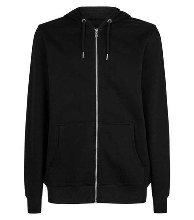 Black Front Pocket Zip Front Hoodie | New Look