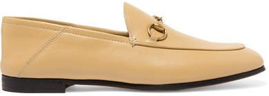 Brixton Horsebit-detailed Leather Collapsible-heel Loafers - Sand