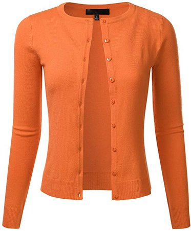 FLORIA Women's Slim Fit Long Sleeve Button Down Crew Neck Knit Cardigan Sweater at Amazon Women's Clothing store