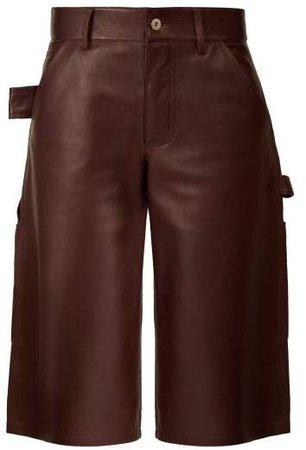 Knee Length Leather Shorts - Womens - Burgundy