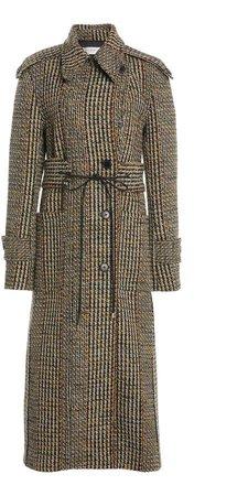 Victoria Beckham Houndstooth Wool-Blend Coat