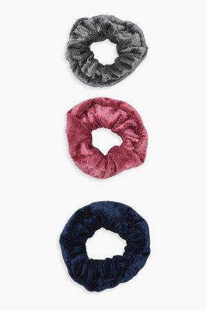 3 Pack Velvet Scrunchie | Boohoo multi