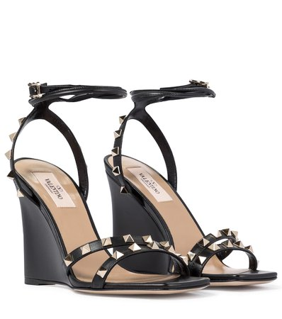 Valentino / Garavani - Valentino Garavani Rockstud leather wedge sandals | Mytheresa