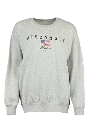 Wisconsin Slogan Extreme Oversized Sweat | Boohoo