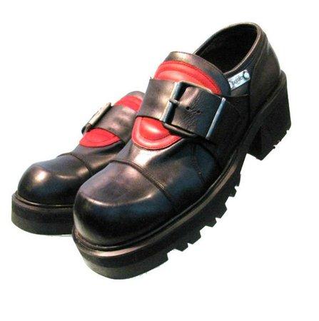 Vintage Mens Destroy Moto Shoes Black Red Leather Industrial   Etsy