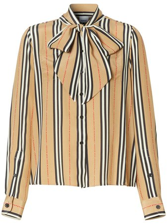 Burberry Icon Stripe Pussy-Bow Blouse Ss20 | Farfetch.com