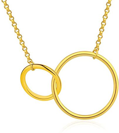 Esberry✦18K Gold Plated S925 Sterling Silver CZ Interlocking Circles Infinity Pendant Necklace Cubic Zirconia Two Circles Pendant with Necklace for Women and Girls