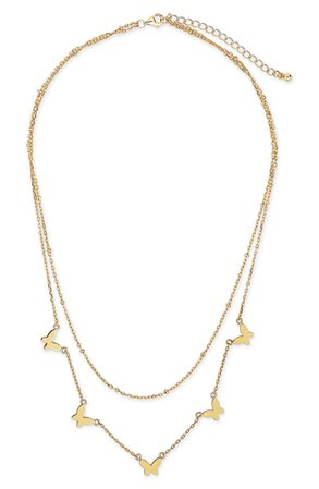 Sterling Forever Butterfly Layered Necklace | Nordstrom