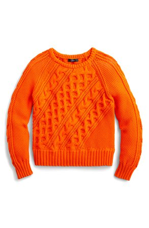 J.Crew Diagonal Cable Knit Sweater   orange