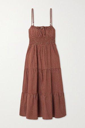 Net Sustain Canyon Tiered Shirred Polka-dot Cotton-poplin Midi Dress - Brown