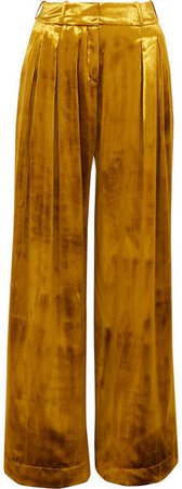Pleated Velvet Wide-leg Pants - Gold