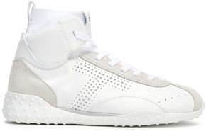 Suede-trimmed Leather Sneakers