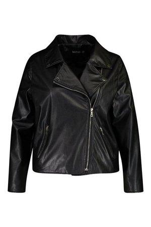 Plus Faux Leather Zip Moto Jacket | boohoo