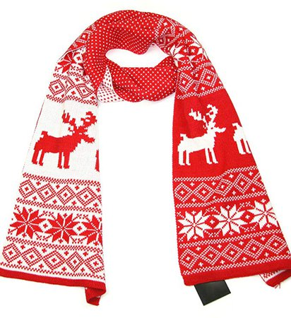 Women Christmas Scarf Red & White - Reindeer Snowflake Winter Knitted Scarves at Amazon Men's Clothing store