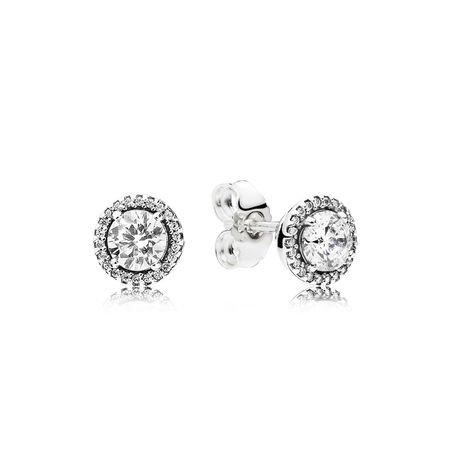 Classic Elegance Stud Earrings, Clear CZ   PANDORA Jewelry US