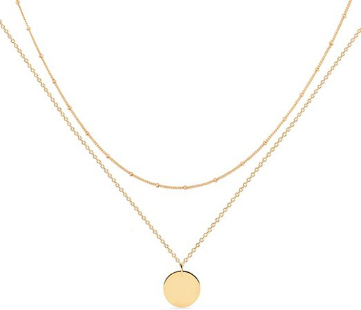 Amazon.com: Gold Layered Necklace, 14K Gold Disc/Circle Bead Chain Dainty Elegant Simple Layer Necklace for Women: Clothing