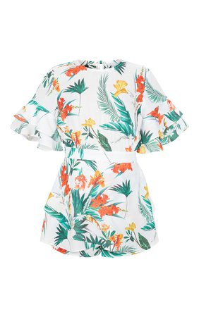 White Tropical Print Frill Sleeve Back Playsuit   PrettyLittleThing