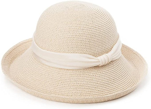 Womens Floppy Summer Sun Beach Straw Hats UPF Foldable Bucket Cloche Hat