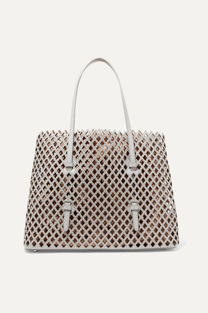 Light gray Mina medium studded laser-cut leather tote   Alaïa   NET-A-PORTER