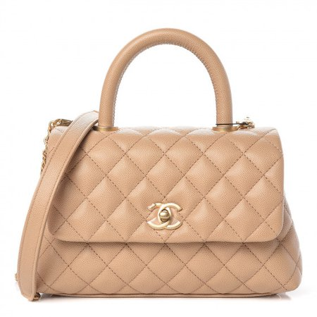 CHANEL Caviar Quilted Mini Coco Handle Flap Beige 437559
