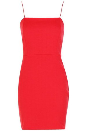 Crepe Square Neck Bodycon Dress   Boohoo UK