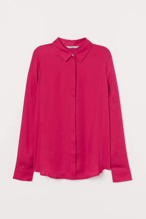 Long-sleeved Blouse - Pink