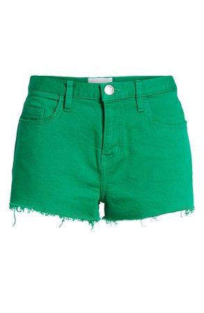 Current/Elliott The Boyfriend Cutoff Denim Shorts (Jolly Green with Cut Hem) | Nordstrom