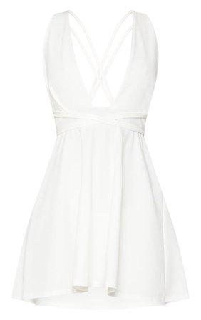 White Wrap Detail Skater Dress | PrettyLittleThing USA