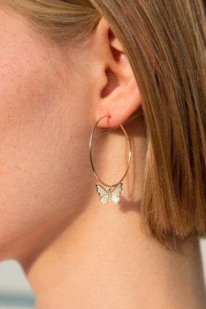 Gold Butterfly Hoop Earrings l Brandy Melville