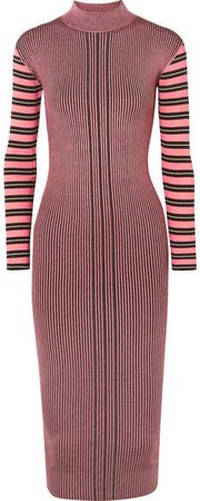 Striped Ribbed-knit Turtleneck Midi Dress - Fuchsia