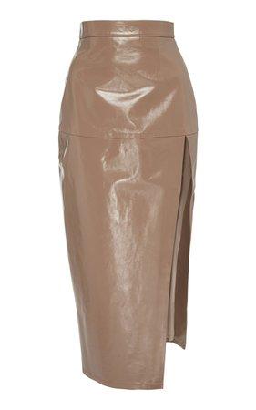 Zeynep Arçay Leather Midi Skirt Size: 8