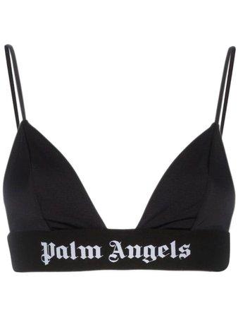 Palm Angels Logo Printed Elasticated Bra - Black