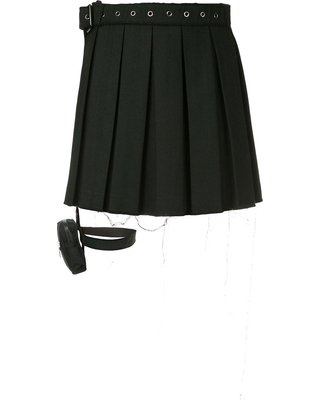 Hyein Seo-Garter Belt Pleated Skirt - Black