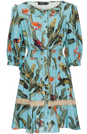 Tropical Print Short Sleeve Mini Dress