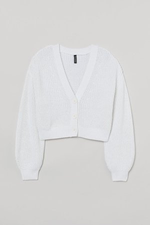 Cropped Cardigan - White