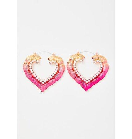 Heart Door Knocker Hoop Earrings Bamboo Rhinestone Pink | Dolls Kill