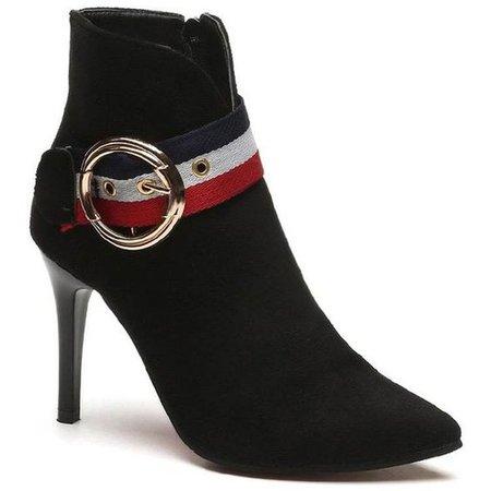 Black 40 Stylish Minimalist Pointy Suede Boots