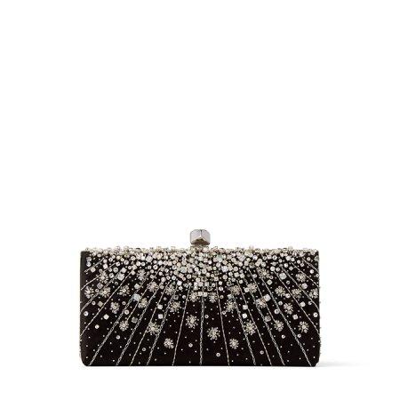 JIMMY CHOO, CELESTE/S Black Satin Clutch Bag with Dégradé Crystals and Cube Clasp