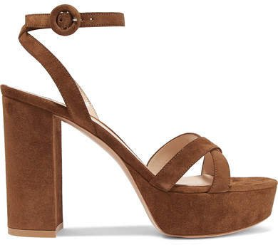 Poppy 100 Suede Platform Sandals - Tan